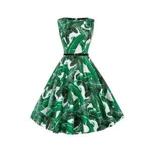 Dresses & Skirts - Green-F Boatneck Vintage Tea Belted Dress